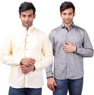 Clubstone Men's Solid, Self Design Formal Yellow, Grey Shirt
