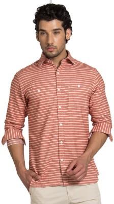 YOO Men's Striped Casual Orange Shirt