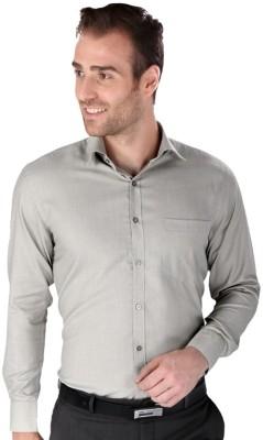 Magson Elite Men's Solid Formal Silver Shirt