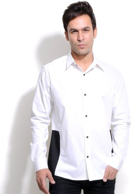 I Know Men's Solid Party White Shirt