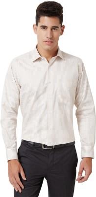 University of Oxford Men's Striped Formal Beige Shirt