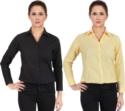 NGT Women's Solid Formal Yellow Shirt