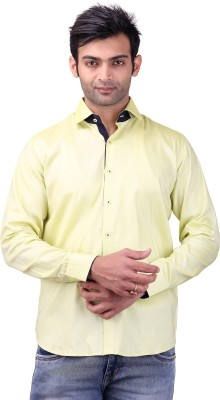 Clubstone Men's Solid Casual Yellow Shirt