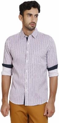 I-Voc Men,s Striped Casual White, Purple Shirt