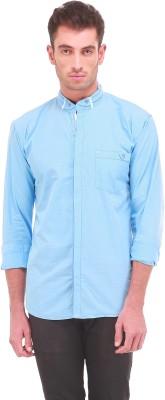 Sleek Line Men's Checkered Casual Light Blue Shirt