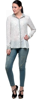 Attire By Kapsons Women's Printed Casual White Shirt