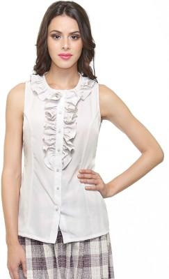 Divaat Women's Solid Formal Grey Shirt