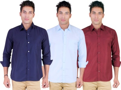 Yuva Men's Solid Casual Dark Blue, Light Blue, Maroon Shirt