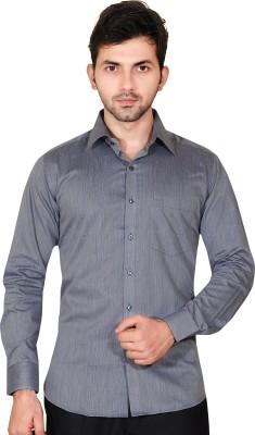 Fabrobe Men's Self Design Formal Grey Shirt