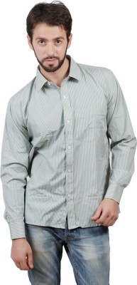 FDS Men's Striped Formal Green Shirt