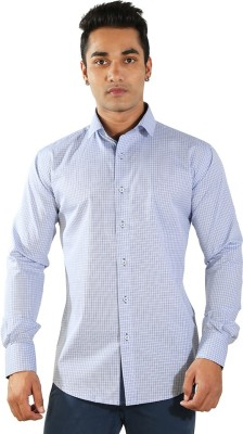Just Differ Men's Checkered Formal Blue Shirt