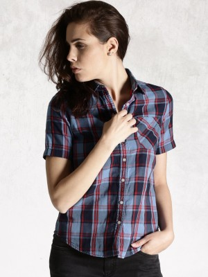 Roadster Women's Checkered Casual Blue, Red Shirt