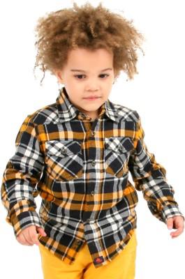 Cherry Crumble California Boy's Checkered Casual Black, Orange Shirt