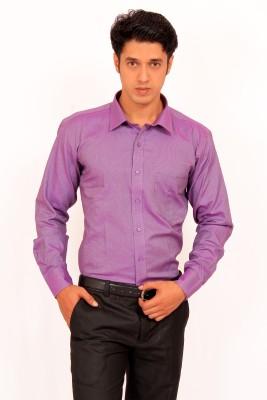 Green Bows Men's Self Design Formal Purple Shirt