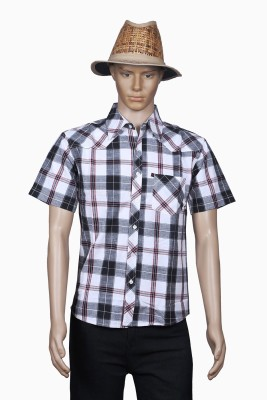 M Touch Men,s Checkered Casual Black Shirt