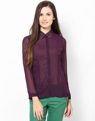 Kaxiaa Women's Solid Casual Purple Shirt