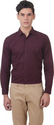 You Forever Men's Solid Casual Purple Shirt