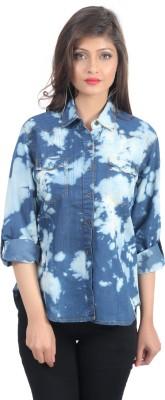 shopdayz Women's Printed Casual Blue Shirt