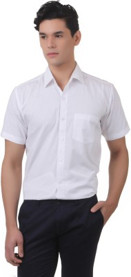 You Forever Men's Solid Casual White Shirt