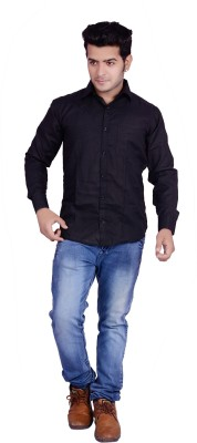 Buransh Men's Solid Formal Black Shirt