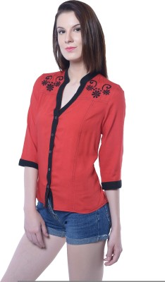 Florrie Fusion Womens Solid Casual Red Shirt