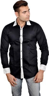 Lomhara Men's Solid Formal Black Shirt