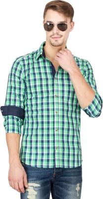 Slub By INMARK Men's Checkered Casual Green Shirt