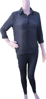 Aaradhya Boutique Women's Solid Formal Black Shirt