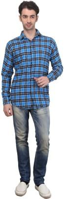 Custom Paid Men's Checkered Casual Blue Shirt