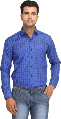 Orizzonti Men's Checkered Formal Blue Shirt