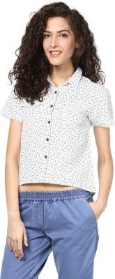 Atorse Women's Printed Casual White Shirt