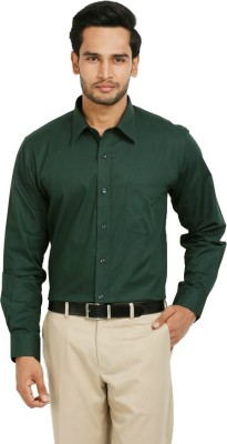 First Row Men's Solid Formal Green Shirt