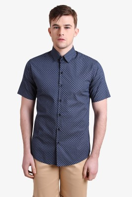 Alvin Kelly Men's Printed Casual Blue Shirt