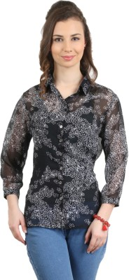 Amadeo Women's Floral Print Casual Blue Shirt