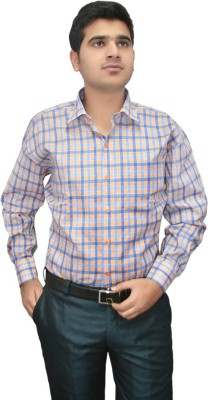 Indocity Men's Checkered Formal Pink, White Shirt