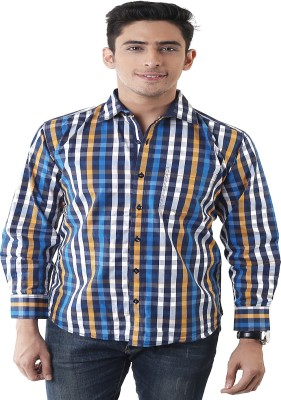 Lee Marc Men's Checkered Casual Blue, White Shirt