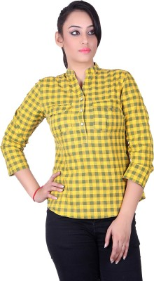 STADO Women's Checkered Casual Denim Yellow Shirt