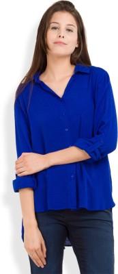Tokyo Talkies Women's Solid Casual Blue Shirt