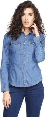 Yepme Women's Solid Casual Blue Shirt