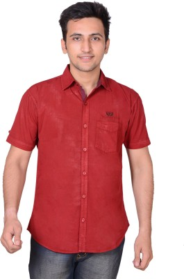 High Hill Men's Solid Casual Maroon Shirt