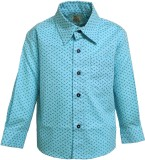 A Little Fable Boys Printed Party Blue S...