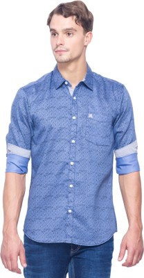 Shield & Sword Men,s Printed Casual Light Blue Shirt