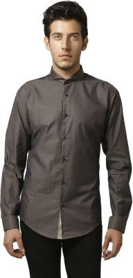 Karsci Men's Polka Print Casual Brown Shirt