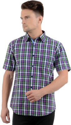 Cairon Men's Checkered Casual Purple Shirt