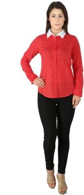 Fashion Wardrobe Women's Polka Print Casual Red Shirt