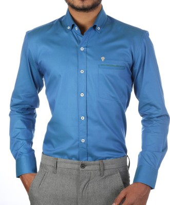 FORTY ONE FITZROY Men's Solid Casual Blue Shirt