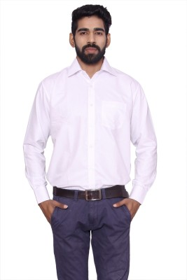 ALLANZO Men's Solid Formal Reversible White Shirt