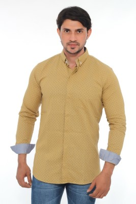 Mabho Men's Printed Casual Beige Shirt