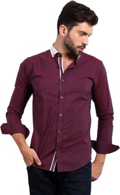 Solemio Men's Solid Casual Red Shirt