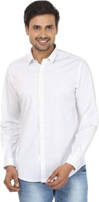John Players Men's Printed Formal White Shirt